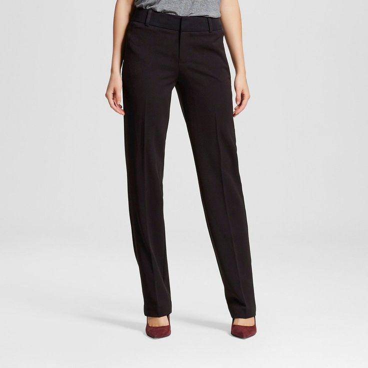 Women's Bi-Stretch Twill Straight Leg Classic Pant Ebony 14 Short - Merona, Black