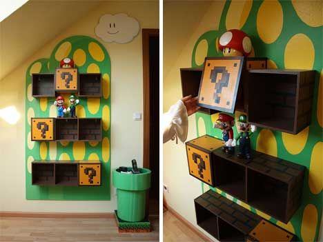 Every geek should have at least one video game-themed piece of furniture. These amazing Super Mario Brothers shelves aren't available commercially; they were a DIY project and reside in a very lucky person's home.