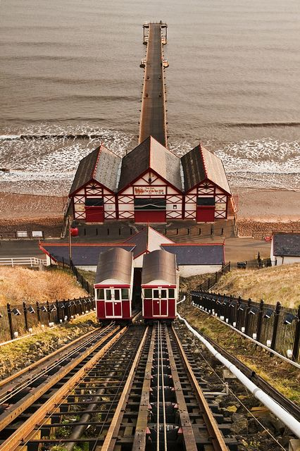 Saltburn Tramway & Pier, England. One of the oldest remaining furnicular railways in the world, opened in 1884 to ferry people down to the pier below. Photo by FiveTimes5, via flickr.