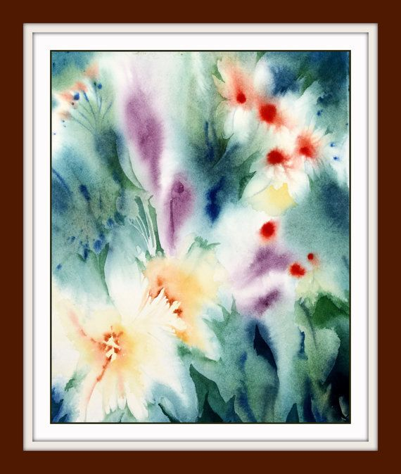 Watercolor Painting Print. Abstract Flower Wall Hanging. Colorful Floral Art. NancyKnightArt.etsy.com DESCRIPTION SUMMARY: • Print of my original watercolor painting - signed. • Professionally printed on heavy weight 350 gsm fine art watercolor paper. • Archival inks Giclee print. • Custom sizing OR standard 4x6, 5x7, 8x10, 11x14 and 13x19 inches. • USA DELIVERY – approx 1 week, no custom fees (orders under $200). • CANADA DELIVERY – FREE shipping (current promotion). • OTHER countries…