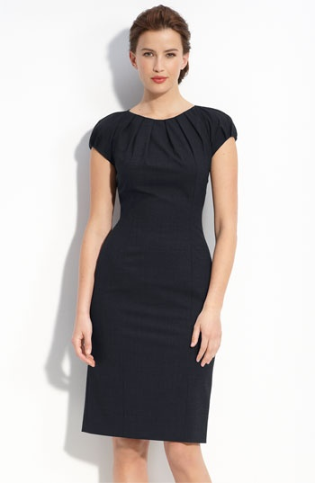 BOSS Black Cap Sleeve Dress - Nordstrom very flattering and classy simple black dress