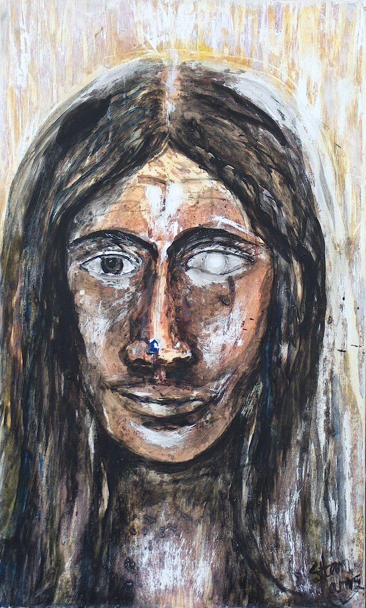 Selfportrait  Oil on Wood Stan Rams  2009   Opaal, grof geschilderd en gekrast de ziel en de ogen tot zover geleden dat niets er meer toe doet dan het wonder van het moment van de beleving of dit nu kunst is om boven je bed of aan de muur of in een museum  te hangen of deze op zolder of in de kelder van het bewustzijn weg te zetten, het beeld is onsterfelijk en leeft door alle tijden.