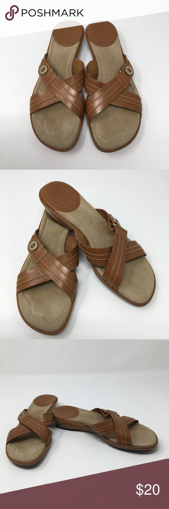 Cole Haan slip on sandals NIKE Air Cushion 5.5 You are viewing an awesome pair of Cole Haan Nike Air sandals The size is 5.5 The color is brown  The material is leather Low heel  Slip on slide Criss cross pattern across the top of the foot Cole Haan Shoes Sandals