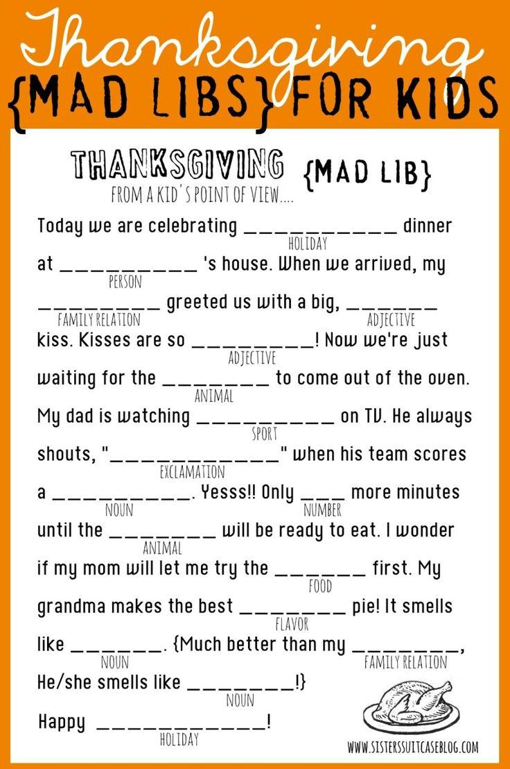 Thanksgiving Mad Libs for Kids! Printable via www.sisterssuitcaseblog.com #thanksgiving #kids