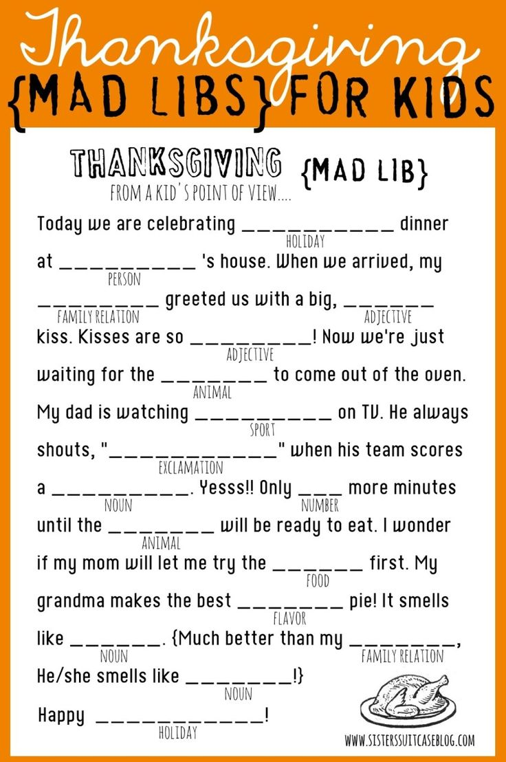 Thanksgiving Mad Libs for Kids! Printable via www.sisterssuitcaseblog.com #thanksgiving #kids