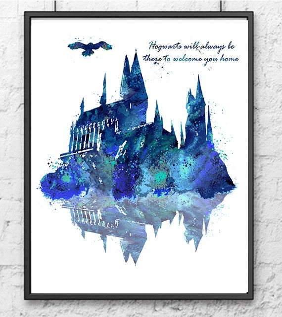 Hogwarts Castle, Harry Potter, Hogwarts Poster, Movie Poster, Watercolor Print, Kids Decor, Wall Art, Children Room Decor, Home Decor - 276