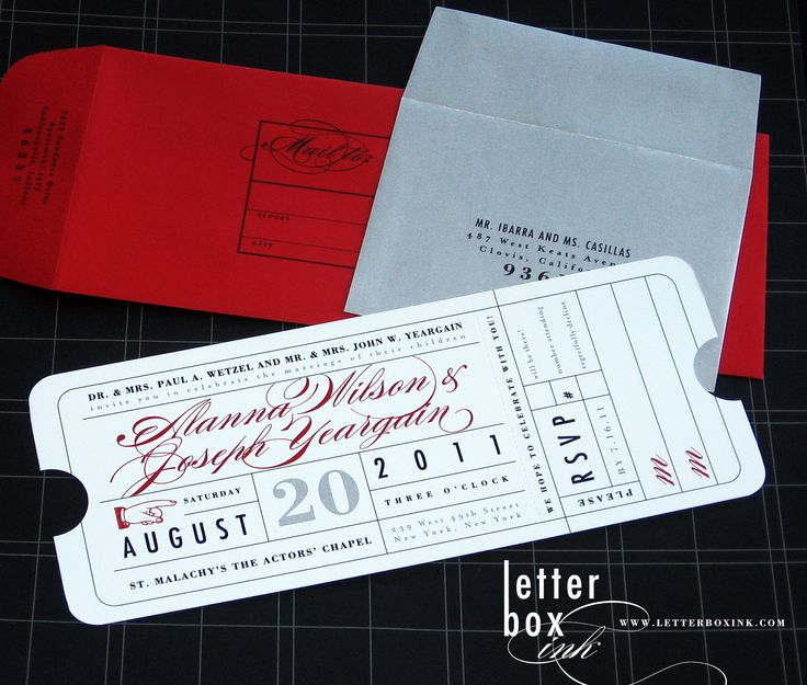 9 best Ticket Wedding Invitation images on Pinterest Ticket - movie ticket invitations template