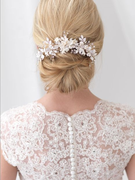 Romantic Hand Wired Floral Back Comb in Silver or Gold -- Affordable Elegance Bridal -