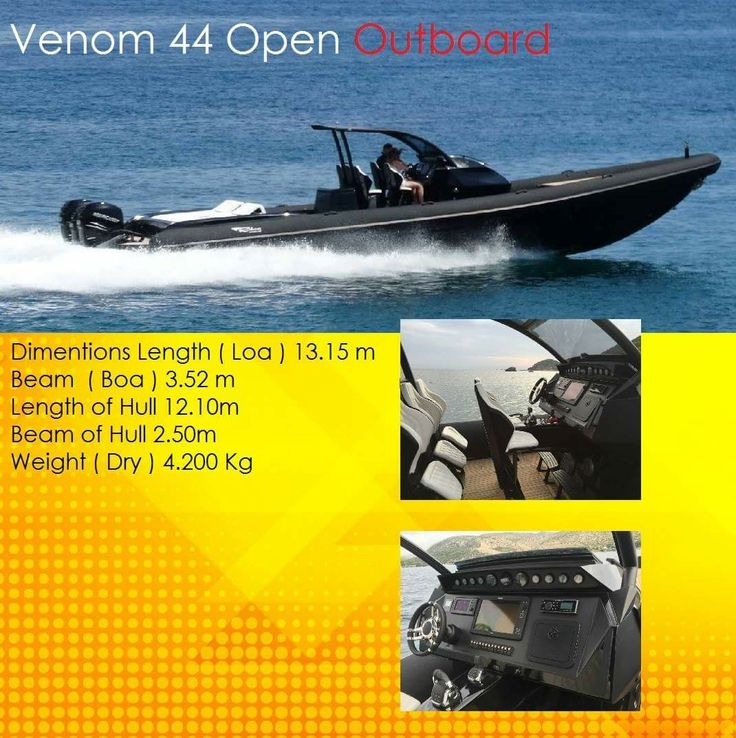 Rib boat - Venom 44 Open Outboard  Dimentions Length  ( Loa ) 13.15 m  Beam  ( Boa ) 3.52 m  Length of Hull 12.10m  Beam of Hull 2.50m  Weight ( Dry ) 4.200 Kg  contact: charismerkatis@gmail.com www.charismerkatis.com
