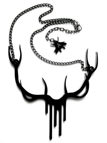 A IS FOR ARSENIC.  BLACK BLEEDING ANTLERS NECKLACE