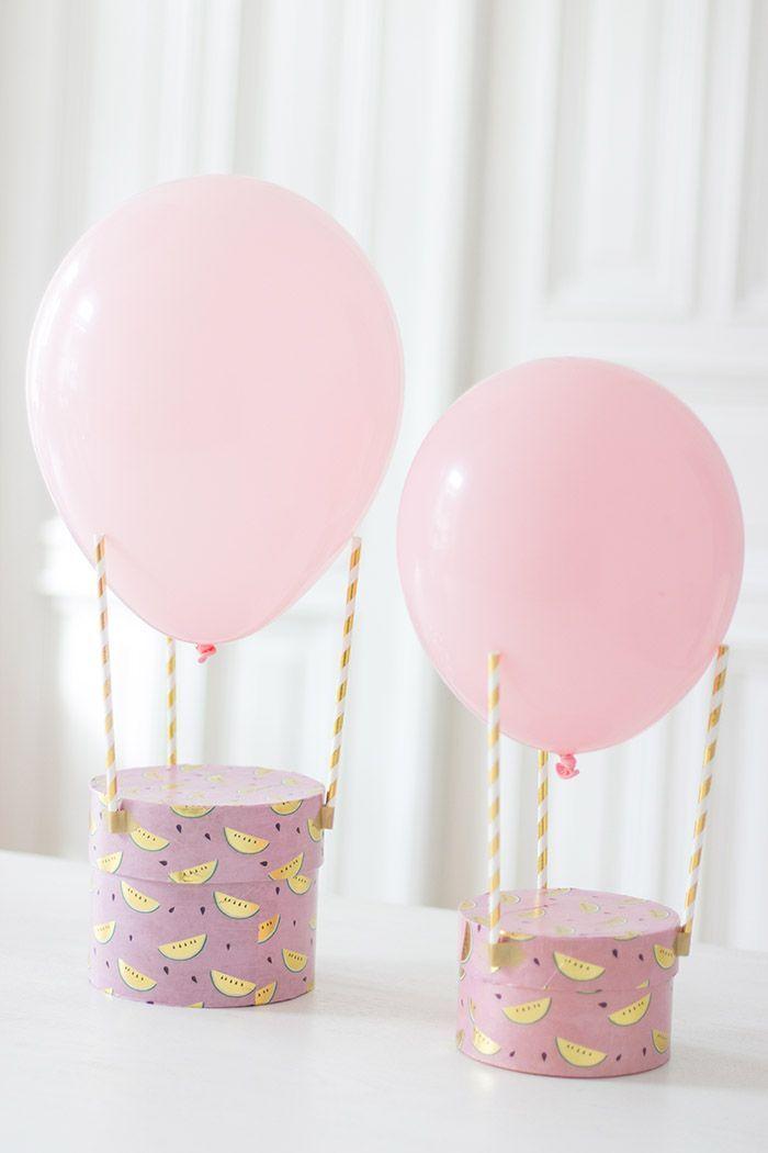 Drei Strohhalme, ein Luftballon – ein Heißluftballon! Eine fix gebastelte Geschenkverpackung zum Kindergeburtstag