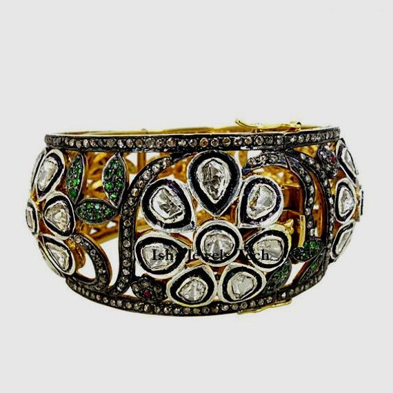 Diamond Bangle Natural Rose Cut Diamond /& Uncut Diamond Polki Emerald Gold 925 Sterling Silver Victorian Vintage Handmade Bangle Bracelet