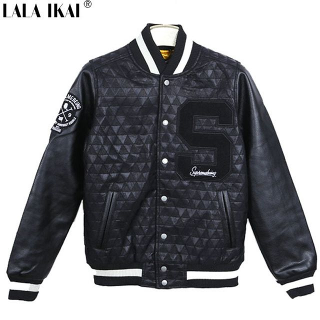 Trendy Mens Hip Hop Jackets and Coats Black Motorcycle Leather Baseball Jacket Men Thicken Inner Veste Homme Marque SMC0061-5 US $72.61  CLICK LINK TO BUY THE PRODUCT  http://goo.gl/oYWEYs