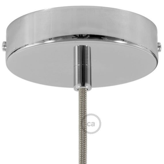 Chrome Round Ceiling Canopy Kit With Cylindrical Chrome Metal
