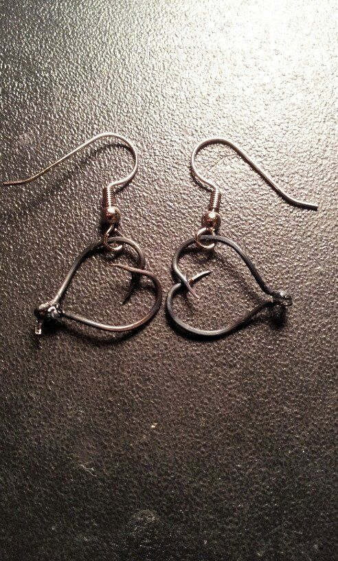 Silver hook heart earrings Fishermen enthusiast tackle fishing hook jewelry.