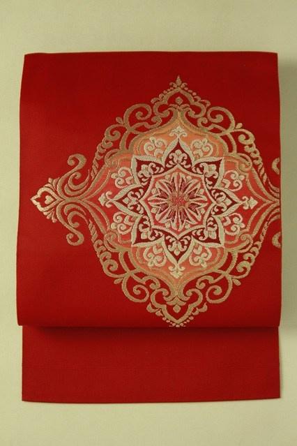 Vermilion nagoya obi / 緋赤地 豪華な華紋お太鼓柄 化繊八寸名古屋帯   #Kimono #Japan…