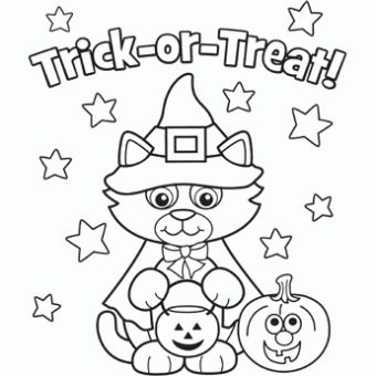 colouring in pages free n fun halloween from oriental trading cat trick or
