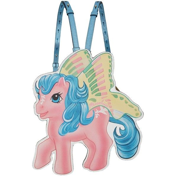Moschino My Little Pony Mini Backpack found on Polyvore featuring bags, backpacks, pink backpack, pink mini backpack, leather daypack, comic book and mini rucksack