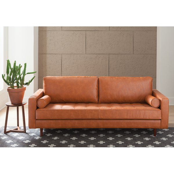 Anchor Your Space In Mid Century Modern Style With This Retro Leather Sofa Founded On A Solid And Manufactured Woo Furniture Genuine Leather Sofa Leather Sofa