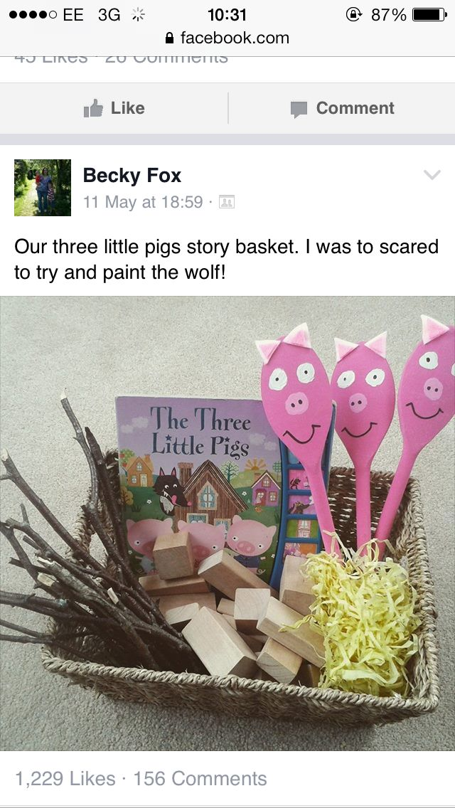 3 little pigs story spoons