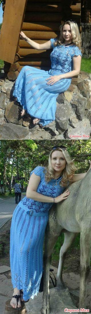 Голубое длинное платье - воплощение платья Кайли Миноуг - Вязание - Страна Мам