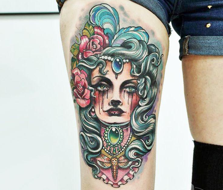 25+ Best Ideas About Woman Face Tattoo On Pinterest