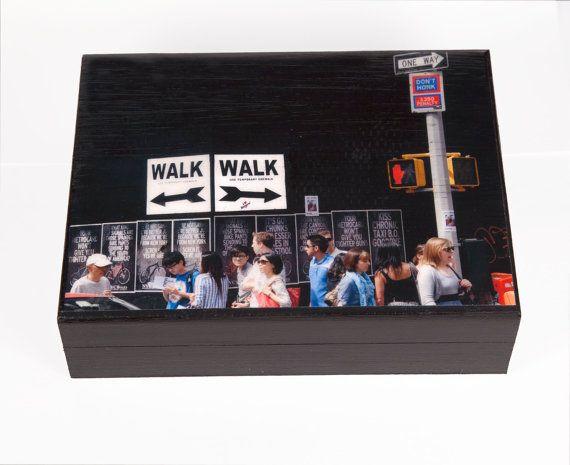 Large Keepsake Box Walk Walk New York City by FineArtStreetPhotos