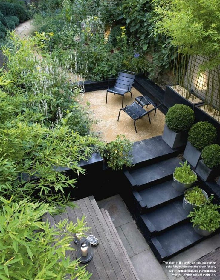 Black, Charcoal, lush green, some pea gravel and a bit of decking - perfect recipe for stunning courtyard.