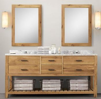 restoration hardware logan double vanity with marble top