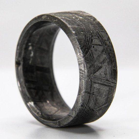 Solid Meteorite Ring Meteorite Ring Men Muonionalusta Etsy Mens Meteorite Ring Meteorite Ring Engagement Rings For Men