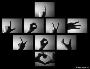 Love Sign Language photo collage.