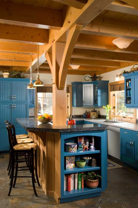 Blue Kitchen in a timber frame house.: Idea, Timber Frames Houses, Paintings Cabinets, Blue Kitchens, Timber Homes, Cozy Kitchens, Guest Houses, Beams Ceilings, Kitchens Sinks