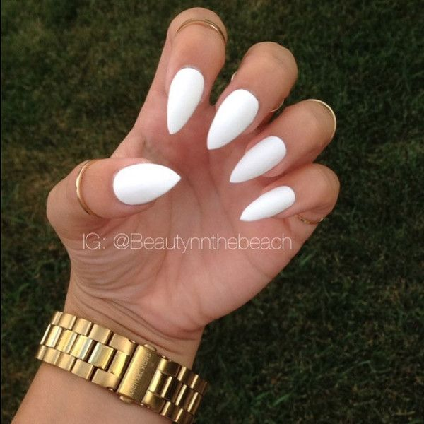 Glossy white stiletto nails set ($10) ❤ liked on Polyvore featuring beauty products, nail care, nail treatments and nails