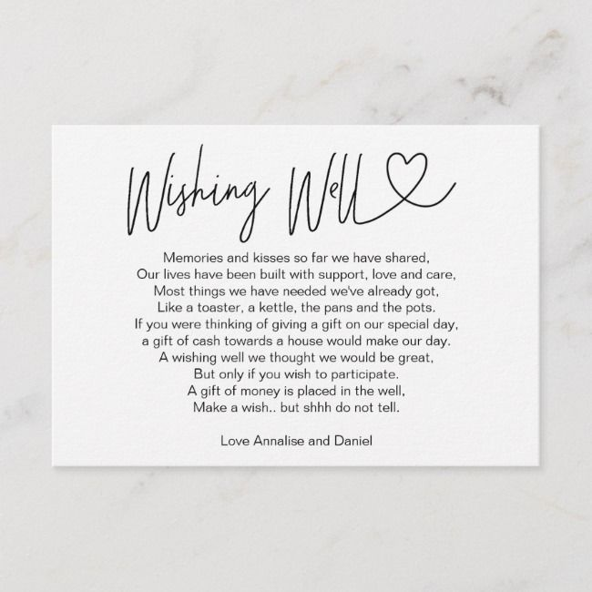 Simple Elegant Wishing Well Card Zazzle Com Wishing Well