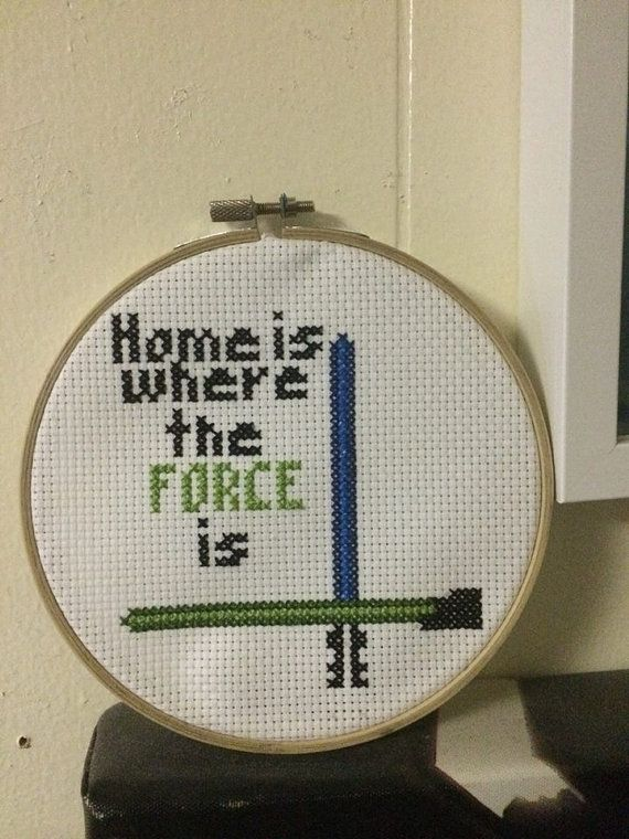 Star Wars Handmade Cross-Stitch Home is Where the Force is