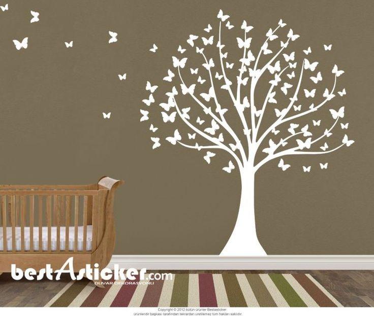 Kelebek Yapraklı Ağaç Duvar Sticker Fiyat: 104 TL