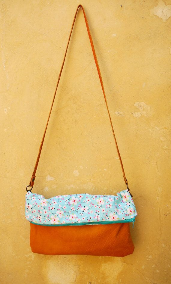 Genuine Leather Shoulder Bag/Purse with fabric by FabLabCrafts