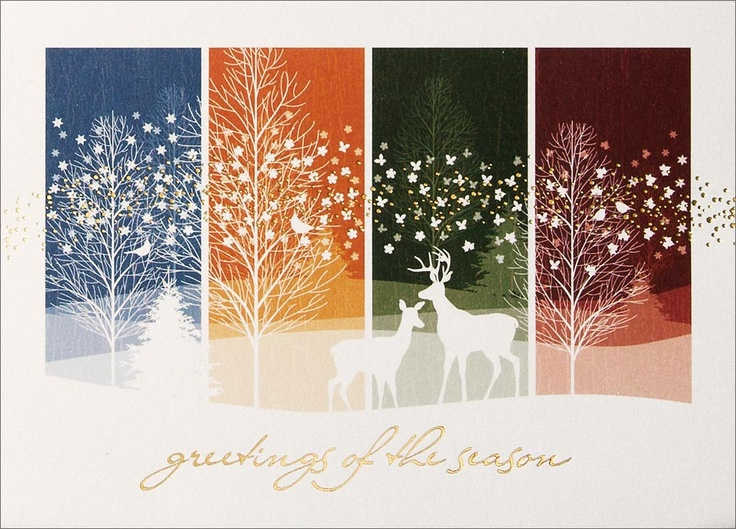 Christmas card inspiration  from a commercial card: The Beauty of Change - Christmas Cards from CardsDirec ...like the white silhoutting of all the elements ... leafless trees, deer, birds and snowflakes ...  ...background divided into four panels,
