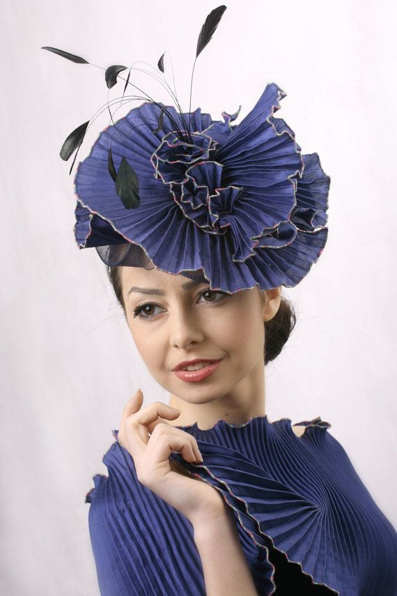 Blue fascinator, Melbourne cup hat, Royal blue Fascinator, Royal Ascot hat, Kentucky derby hat, Wedding headpiece, Couture millinery hat