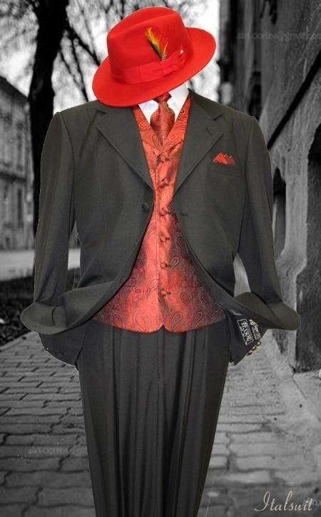 Black And Red Zoot Suit In 2019 Mens Fashion Suits