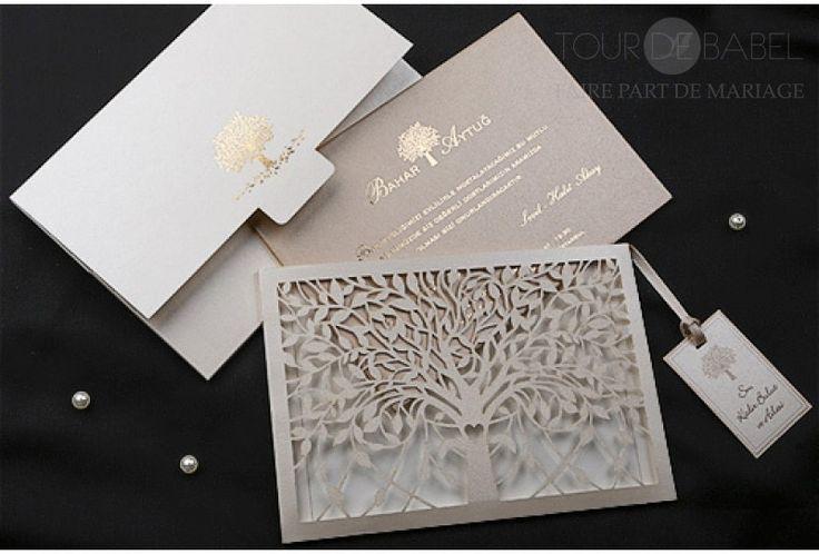 Faire part mariage luxe magique arbre de vie detail