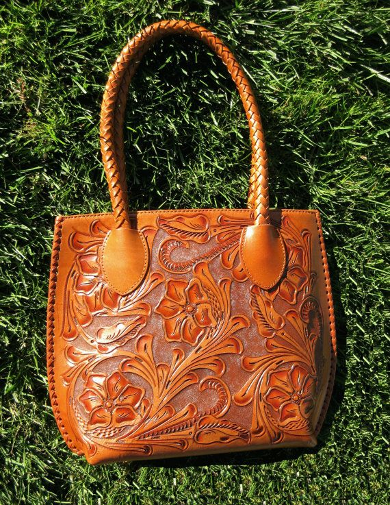 Apricot Hand Tooled Leather Purse by ChamanShop on Etsy, $165.00
