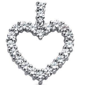 Diamantring / Diamantarmband / Diamantschmuck: Herzanhänger - 1.75 Karat Diamanten aus 585er Weiß...