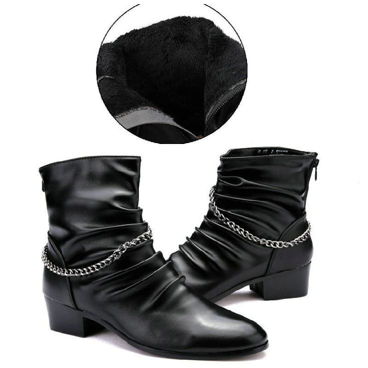 Unisex Fashion Ankle Chain Accent Lined/Unlined PU Leather Black Boots