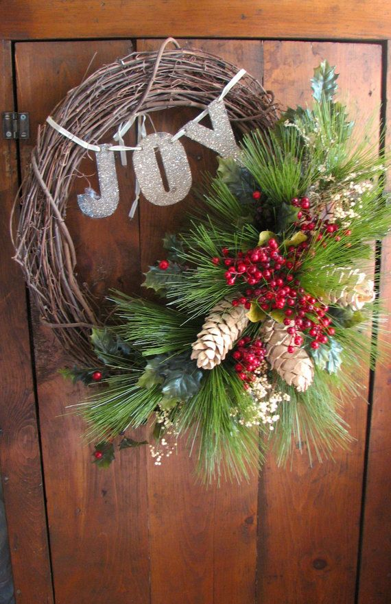 Christmas Wreath Grapevine With Greens White Pinecones