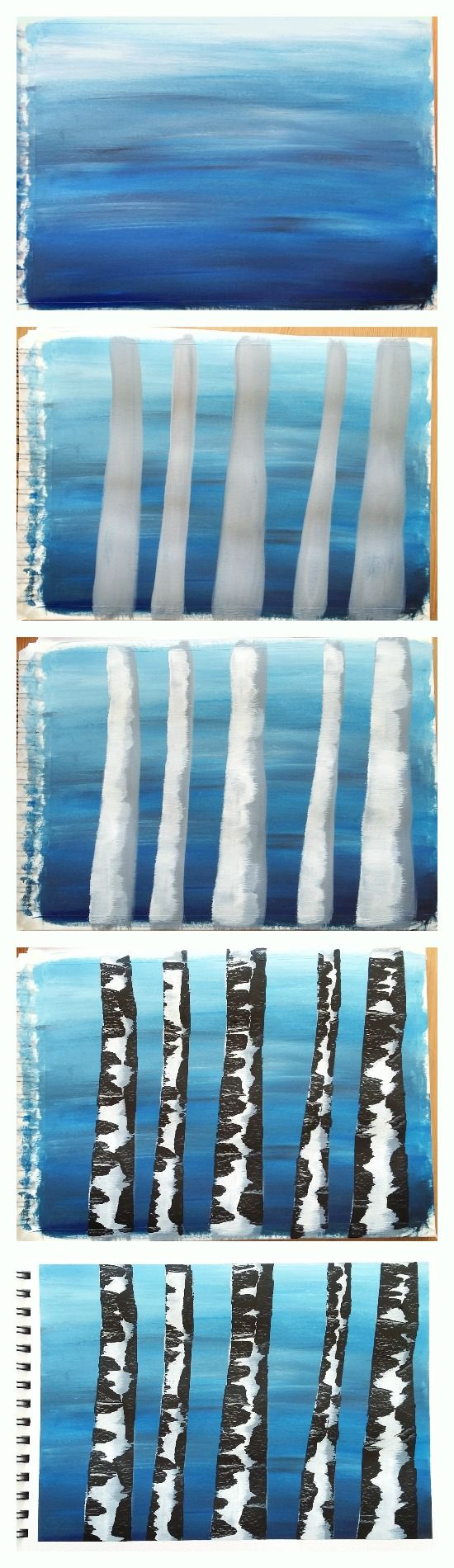 Let me show you how to paint a straightforward birch tree painting with acrylic paint. All you need is three paint colours, some paper, a paintbrush and an old credit card. Click through for the tutorial.