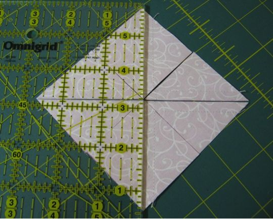 """Magic 8"" method for half-square triangles. Includes math and cutting instructions."