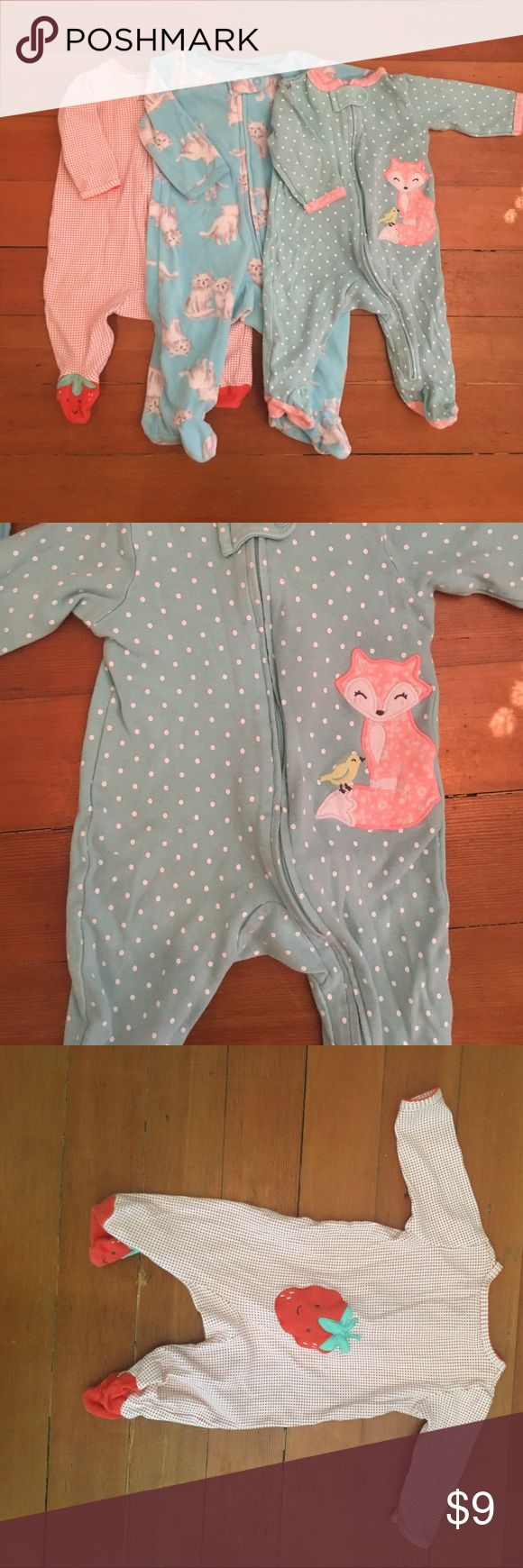 Bundle of baby girl pajamas - 3 months Fleece cat pajamas, cotton fox and strawberry bunny Pajamas. All carter's. I bundle! Carter's Pajamas