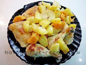 курица с картофелем и бататом а горчично-медовом маринаде