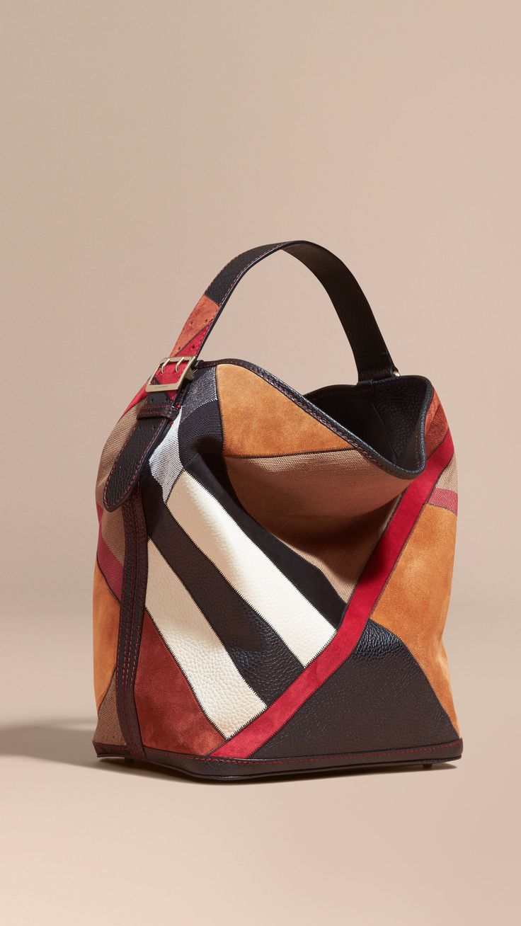 The Medium Ashby in Patchwork Canvas Check and Leather Black   Burberry